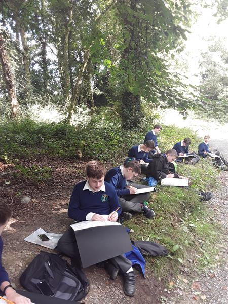 2nd year students who spent a morning sketching  in Castlelough woods as part of their Visual Art programme at St. Joseph's CBS, Nenagh.