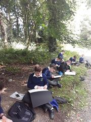2nd year students who spent a morning sketching  in Castlelough woods as part of their Visual Art programme at St. Joseph