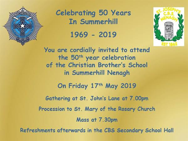 An Invitation to Celebrating 50 Years in Summerhill on Friday 17th May 2019