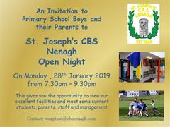 Open Night is on Monday 28th January from 7.30-9.30pm