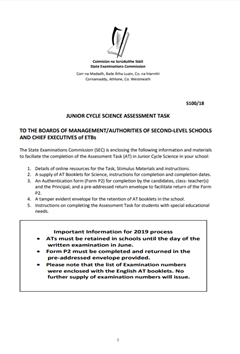 Junior Cycle Science Assessment Task Information 2019