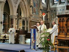 Celebrating mass to mark the start of the St. Joseph